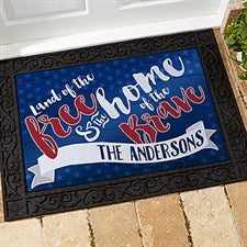 Personalized July 4th Doormat - Land Of The Free - 15773