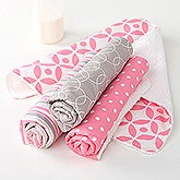 Trendy Baby Girl Burp Cloth Set - 15789