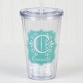 Personalized Acrylic Insulated Tumbler - Blooming Monogram - 15800