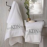 Monogrammed Bath Towels - Meadow Monogram - 15812