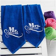 Embroidered Wedding Beach Towel Set - Happy Couple - 15858