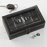 Personalized Leather 12 Slot Cufflink Box - 15866
