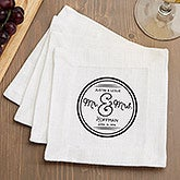 Personalized Mr & Mrs Wedding Cocktail Napkin Set - Cloth - Circle of Love - 15884