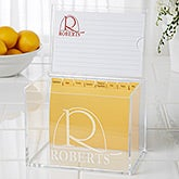 Personalized 4x6 Recipe Box and Recipe Cards - Monogram Elegance - 15887
