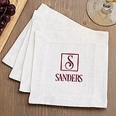 Personalized Cloth Cocktail Napkin Set - Square Monogram - 15895