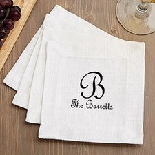 Personalized Cloth Cocktail Napkins - Classic Monogram - 15896