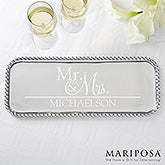 Personalized Mariposa String Of Pearls Rectangle Serving Tray - Wedded Pair - 15900