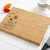 Personalized Christmas Bamboo Cutting Board - Snowflakes - 15909