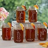 Personalized Wedding Glass Mason Jar - Bridal Brigade - 15919