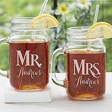 Personalized Wedding Glass Mason Jar 2 Piece Set - Mr. & Mrs. - 15921