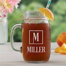 Personalized Glass Mason Jar - Square Monogram - 15922