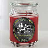 Personalized Christmas Scented Candle Jar - Happy Holidays - 15942