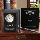 Personalized Marble Desk Clock - Graduation - 15955