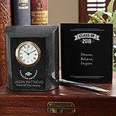 Personalized Marble Desk Clock - Graduation - 15955