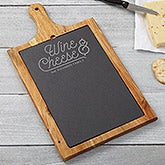 Personalized Slate & Wood Paddle - Wine & Cheese Board - 15958