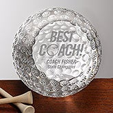 Personalized Best Golf Coach Award - Crystal Golf Ball - 16018