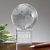 Personalized World's Best Teacher Award - Glass Globe - 16021