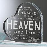 Engraved  Memorial Keepsake Gift - Heaven In Our Home Heart - 16026