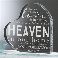 Engraved  Memorial Keepsake Gift - Heaven In Our Home Heart - 16026