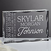 Personalized Baby Birth Details Engraved Keepsake - 16032