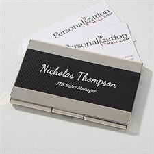 Personalized Black & Silver Business Card Case - Contemporary - 16039