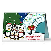 Personalized Christmas Cards - Penguin Family - 16090