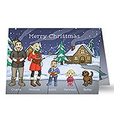 Personalized Christmas Cards - Caroling Family Characters - 16102