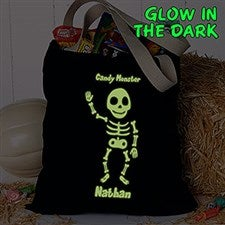 Personalized Halloween Treat Bag - Glow-In-The-Dark Skeleton - 16106