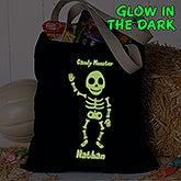 Personalized Halloween Treat Bag - Glow-In-The-Dark Skeleton - 16106