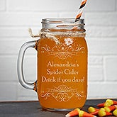 Personalized Halloween Glass Mason Jar - Spooky Spider Web - 16110