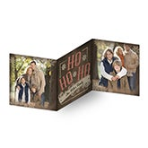 Personalized Square Tri-Fold Photo Christmas Cards - Ho Ho Ho - 16115