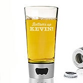 Personalized Beer Pint Glass With Bottle Opener - Bottoms Up! - 16119