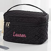 Embroidered Quilted Train Case - 16131