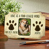 Personalized Pet Photo Tabletop Berlin Plaque - Paw Prints - 16149