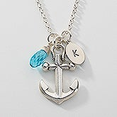 Initial Swarovski Birthstone Necklace - Anchors Away! - 16156D