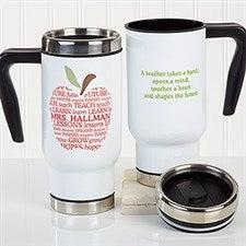 Personalized Teacher Commuter Travel Mug - Apple Scroll - 16174