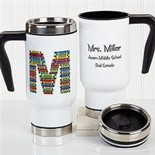 Personalized Commuter Teacher Travel Mug - Crayon Letter - 16184