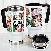 Personalized Photo Commuter Travel Mug - 5 Photos Loving Message - 16206