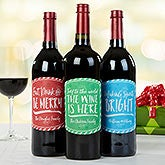 Personalized Christmas Wine Bottle Labels - Holiday Cheer - 16209