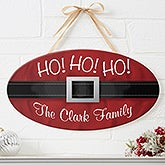 Personalized Christmas Oval Wood Sign - Ho! Ho! Ho! Santa Belt - 16215