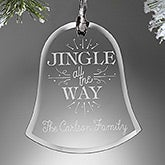 Personalized Glass Christmas  Bell Ornament - Jingle All The Way - 16220