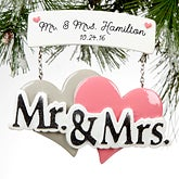 Personalized Wedding Christmas Ornaments - Mr & Mrs Wedding Sign - 16253