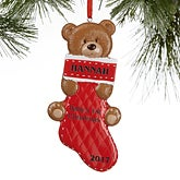 Baby's First Christmas Personalized Christmas Ornaments - Teddy Bear Stocking - 16272