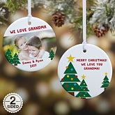 Personalized Christmas Photo Ornament - Holiday Hugs & Kisses - 16298