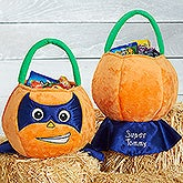 Personalized Plush Halloween Treat Bag - Superhero Pumpkin - 16324