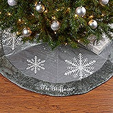 Personalized Christmas Tree Skirt - Shimmering Snowflake - 16348