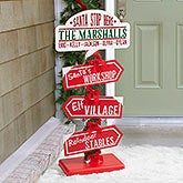Personalized North Pole Christmas Sign - Santa Stop Here - 16357