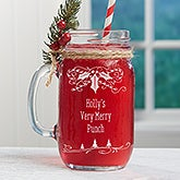 Personalized Christmas Glass Mason Jar - Holly Berry - 16364