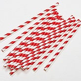 Red & White Striped Christmas Paper Straws - Pack of 25 - 16369