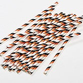 Orange, Black & White Striped Halloween Paper Straws - Pack of 25 - 16370